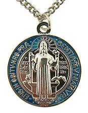 Silver Tone Red Blue Enamel Saint St Benedict Medal Necklace, 1 1/4 Inch