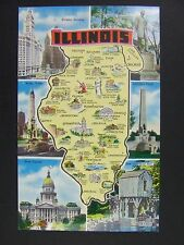 Illinois IL State Map Wrigley Lincoln Water Tower Grist Mill Postcard 1950s