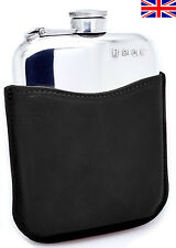 Hand Made Pewter Hip Flask 6oz Captive Top, Black Leather Sleeve, Free Engraving