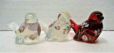 3 FENTON GLASS BIRDS, 2 PTD. OPALESCENT CLEAR, ONE RUBY RED PAINTED, ARTIST SIGN