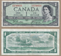 Devil's Face 1954 $1 Bank of Canada Beattie Coyne - VF/EF