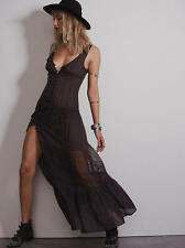 NWOT $128 Free People Maxi Lace Brown Charcoal Brown Charcoal XS