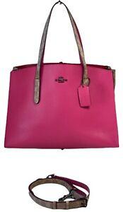 COACH 76073 Charlie Rose Khaki Leather Signature Colorblock Carryall Tote Bag