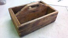 Vintage Primitive Style Wood Tool Caddy Carrier Tote Flatware Fruit Flowers NICE