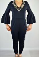 New Ted Baker Bixie Black Embellished Jumpsuit Holiday Christmas Size 3 12 BF1