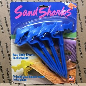 Vintage Sand Sharks Blue Beach Towel Holders Set Of 4 From 1987 Unopened Package
