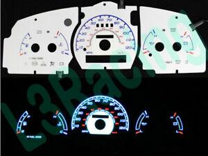 White Indiglo El Gauge Kit Glow BLUE Reverse for 98-03 Ranger/Explorer w/o Tach