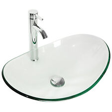 Bathroom Tempered Clear Glass Vessel Sink Oval Bowl Chrome Faucet & Pop-up Drain