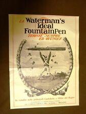 Pubblicità del 1924 Waterman's Ideal Fountainpen Drisaldi + Auto Bianchi Milano