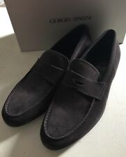 New $575 Giorgio Armani Mens Suede Shoes Loafers Dark Brown 12 US X2A243 Italy