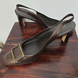 BANANA REPUBLIC Size 8-1/2 Brown Buckle Sling Back Pump Block Chunky Heel Womens