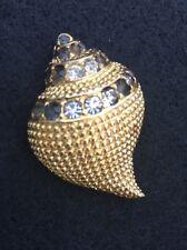 VTG Kenneth J Lane KJL Gold Tone with White & Black Crystal Shell Pin Brooch