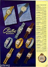 1949 ADVERT 4 PG Clinton Wrist Watch Calendar The Olma Men's Ladies'