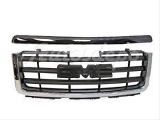 Bundle 07-13 Sierra 1500 Pickup Grille Blk W/Chrome Frame Hood Molding Trim 2Pc
