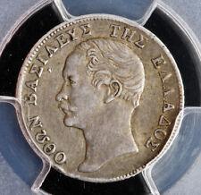1855, Kingdom of Greece, Otto I. Rare Silver ½ Drachma Coin. PCGS XF+