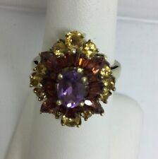 Gold Citrine Garnet Amethyst Ring (J51)