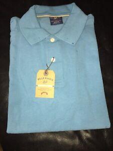 $115NWT BILLS KHAKIS Teal Blue SUPIMA cotton pique short sleeve POLO shirt Large