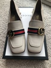 Authentic Gucci White Peyton Pearl Mid Heel Loafer Shoes Size 36