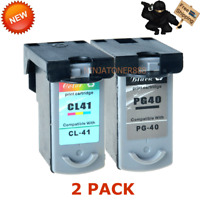 2PK PG-40 CL-41 Black & Color Ink Set For Canon PIXMA MP170 MP180 MP190 IP2600
