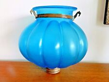 BELLA antica francese vetro blu a forma di globo vintage Luce/Lampada Ombra