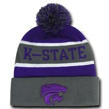 Kansas K State University KSU Wildcats NCAA Winter Pom Cuff Knit Beanie Cap Hat