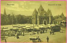 Postcard AMSTERDAM HOLLAND Market and Trolley