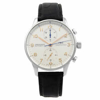 IWC Portugieser Leather Steel Silver Arabic Dial Automatic Mens Watch IW371604