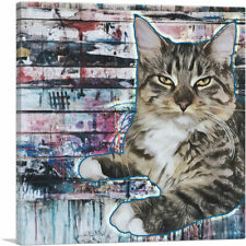 Artcanvas American Bobtail Cat Breed Graffiti Canvas Art Print