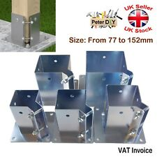 Heavy Duty Galvanised Bolt Down SQUARE POST SUPPORT Fence Foot Base 77-152mm