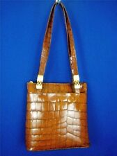 PAOLA DEL LUNGO ITALY Caramel Embossed Leather NEW Shoulder Tote