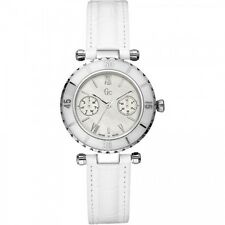 NEW GUESS COLLECTION GC DIVER CHIC LADY WATCH WHITE LEATHER STRAP DATE I24001L1S