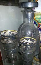 antico servizio da rosolio liquore cristallo argento
