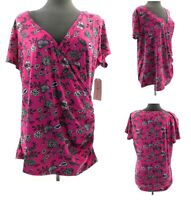 Eye Candy Top Womens Plus Size Pink Floral Short Sleeve V Neck Casual Shirt