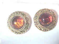 Round Amber Domed set in Goldtone  Pierced Stud Earriings  Excellent
