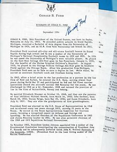 President Jerry Ford signed three page Document a Biography September 1994