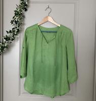 J Jill Bright Green Three Quarter Sleeve Linen Top Size X-Small