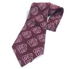 Mens Vintage Neck Tie Kipper Necktie Woven Jacquard - Plum Maroon Disco Leisure
