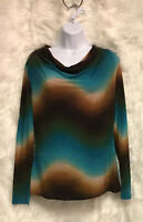 ND New Directions Brown Teal Cowl Neck Lightweight L/S Sleeve Top Sz M - EUC