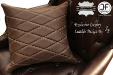 """1X EXCLUSIVE LUXURY LEATHER CUSHION DISTRESSED BROWN DIAMOND PADDED 18""""x18"""""""