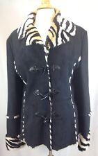 Walk on the Wild Side Woman's Coat Zebra Print Lining Size M Black Suede