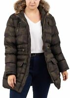 New Womens Camo Print Fur Hooded Padded Winter Parka Coat Jackets
