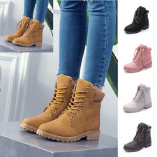 Women Winter Martin Ankle Boots Outdoor Waterproof Slip On Work Lace Up Shoes