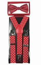 Red w/ white dot toddler bow tie and suspenders set - baby boy/girl Accesorries