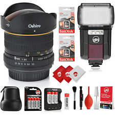 Oshiro 8mm f/3.5 Wide Angle Fisheye Lens for Canon, Flash, Batteries & SD Cards