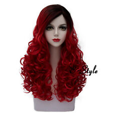 60CM Dark Red Mixed Black Long Curly Harajuku Fashion Women Cosplay Party Wig