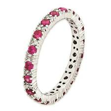 Silver Stackable Ring Round Created Ruby & Diamond Stone, July Birthstone QSK654