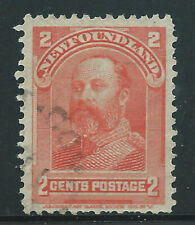 Newfoundland #82(1) 1898 2 cent vermilion KING EDWARD VII Light Cancel Used