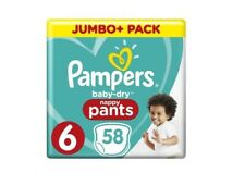 PAMPERS 58 couches baby-dry Nappy Pants Taille 6 (15+ kg) Paquet Blanc, culottes