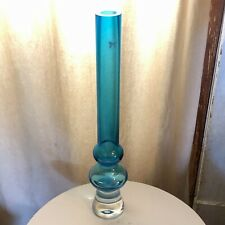 MARQUIS WATERFORD Scandinavian Danish MCM Style Design GLASS VASE Blue 17""
