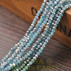 New 100pcs 4X3mm Crystal Glass Rondelle Faceted Loose Beads Jade LakeBlue&Silver